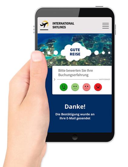 Abbildung eines HappyOrNot-Web Smileys auf einem Smartphone