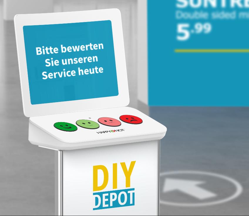 Bild des HappyOrNot Smiley Terminals in der Version von 2018